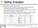 testing evaluation