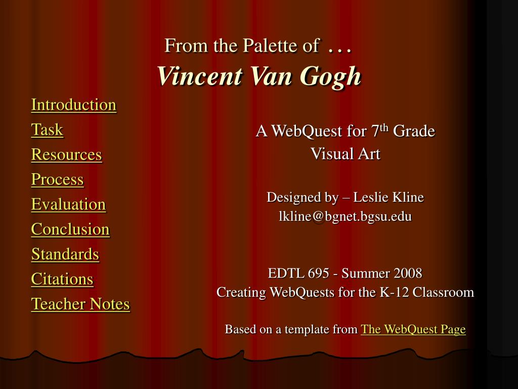 from the palette of vincent van gogh l.