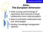 aims the european dimension