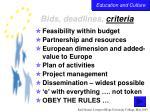 bids deadlines criteria38