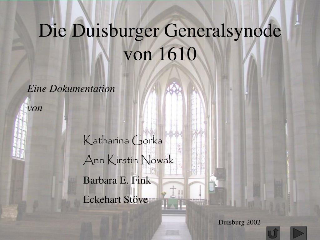 die duisburger generalsynode von 1610 l.