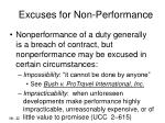 excuses for non performance