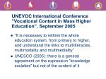 unevoc international conference vocational content in mass higher education september 2005
