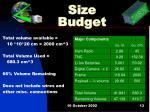 size budget