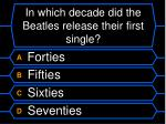 in which decade did the beatles release their first single