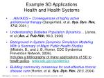 example sd applications health and health systems