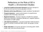 reflections on the role of sd in health environment studies