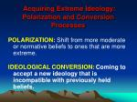 acquiring extreme ideology polarization and conversion processes