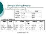 sample mining results