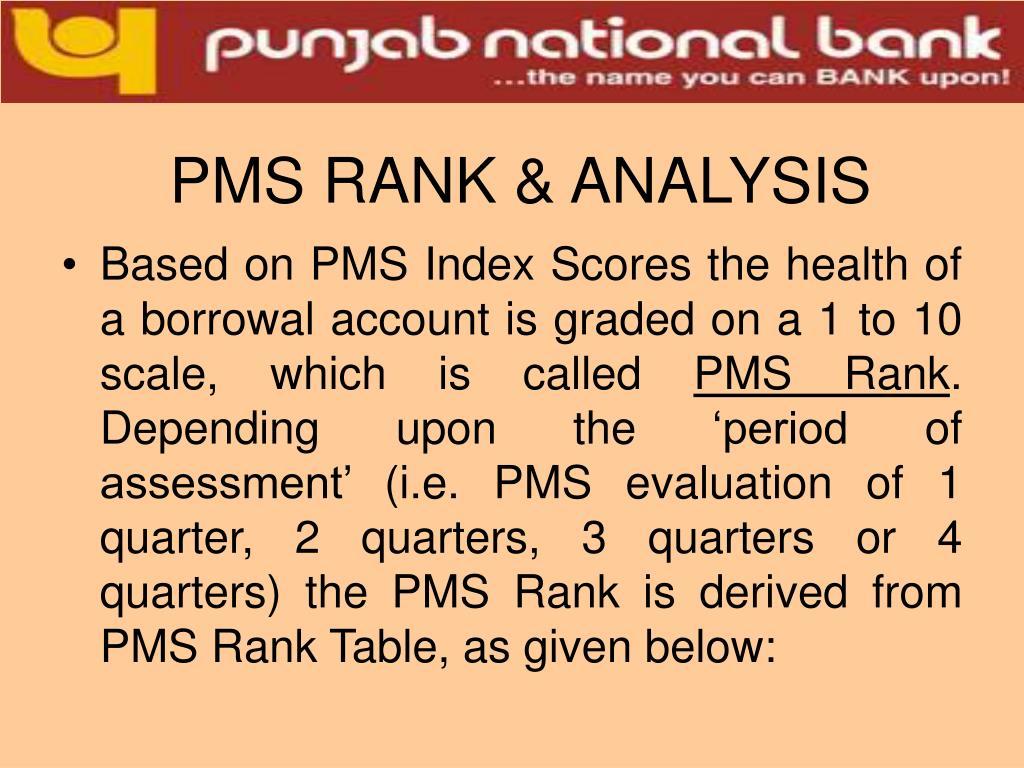 PMS RANK & ANALYSIS
