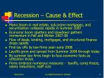 recession cause effect