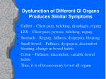 dysfunction of different gi organs produces similar symptoms