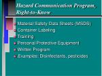 hazard communication program right to know