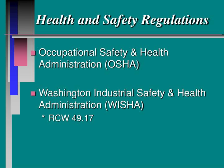 development of occupational health and safety practices The development of a health and safety policy or program is the responsibility of the employer  written work procedures to implement health and safety practices .
