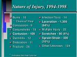 nature of injury 1994 1998