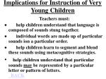 implications for instruction of very young children