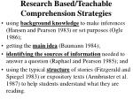 research based teachable comprehension strategies