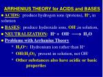 arrhenius theory for acids and bases