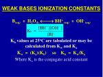 weak bases ionization constants