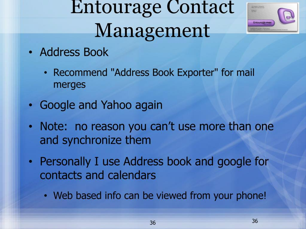 Entourage Contact Management