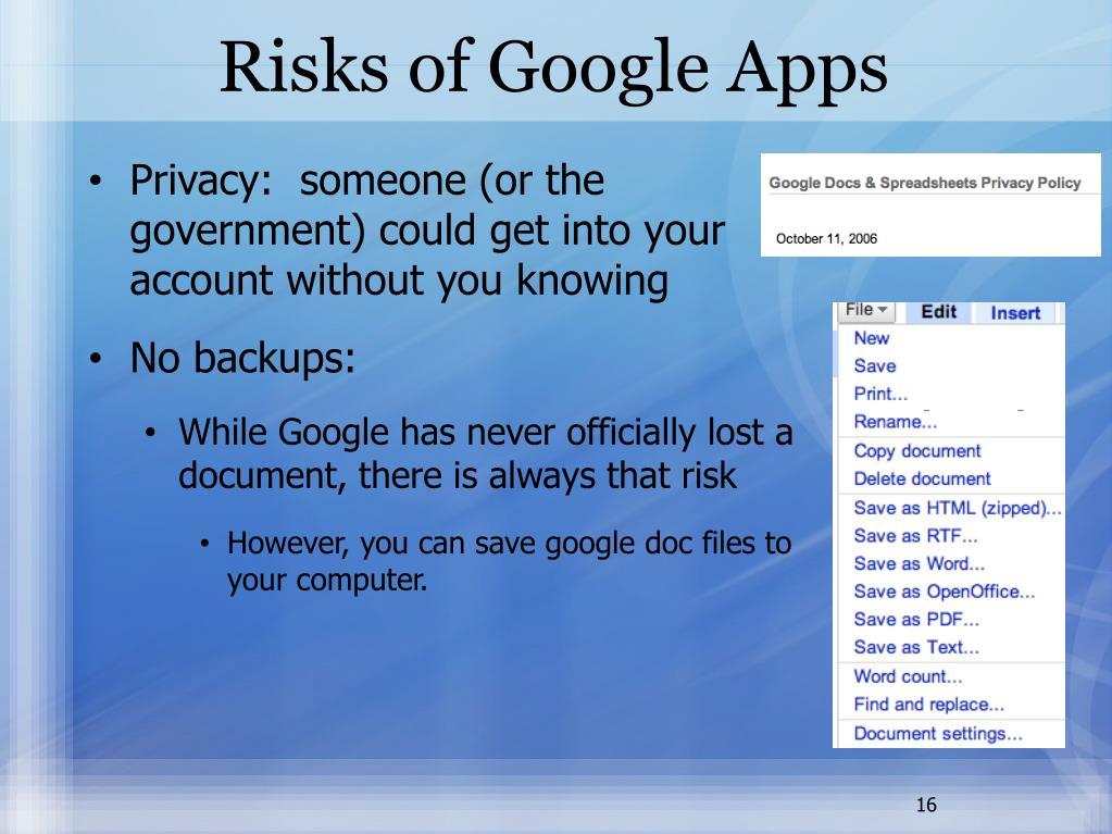 Risks of Google Apps