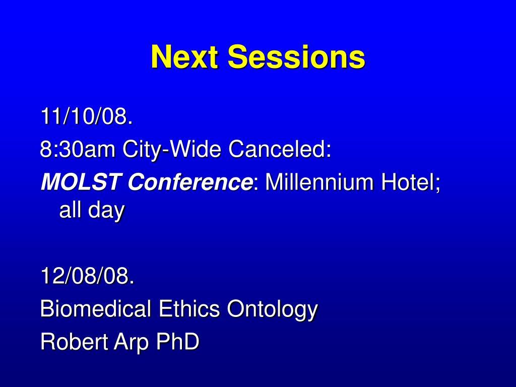 next sessions l.