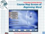 course map screen of beginning word