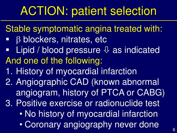 ACTION: patient selection