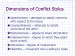 dimensions of conflict styles