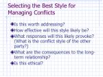 selecting the best style for managing conflicts