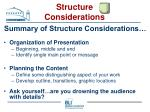 structure considerations33