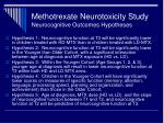 methotrexate neurotoxicity study neurocognitive outcomes hypotheses