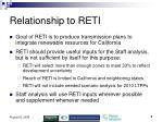 relationship to reti
