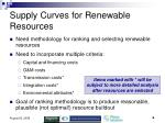 supply curves for renewable resources
