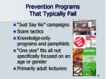 prevention programs that typically fail
