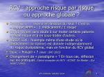 rcv approche risque par risque ou approche globale