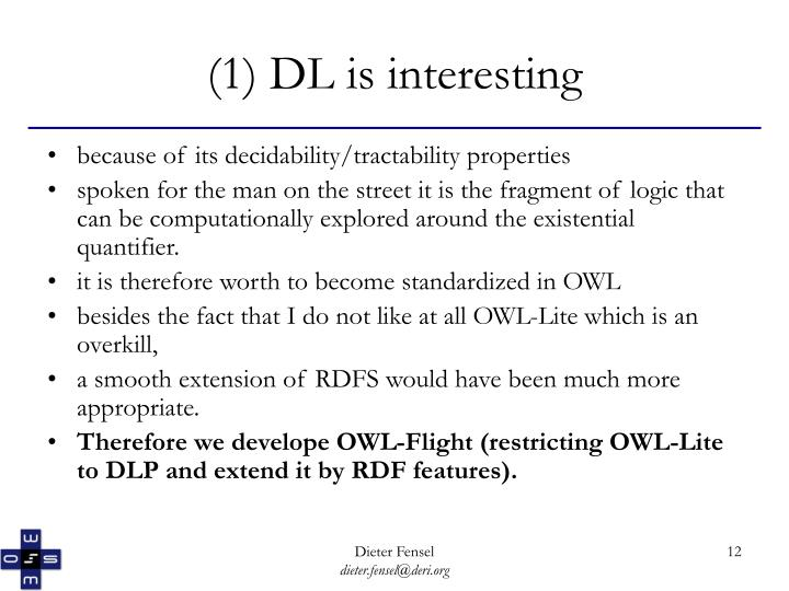 (1) DL is interesting