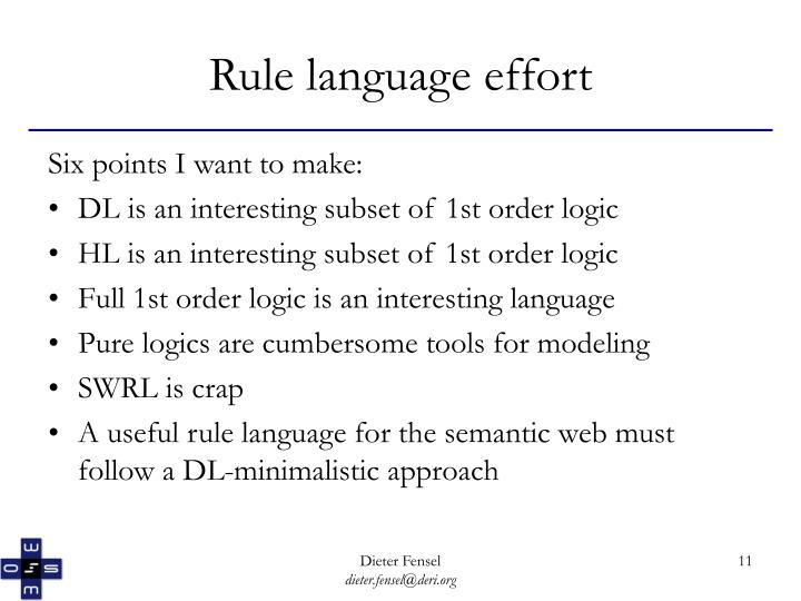 Rule language effort