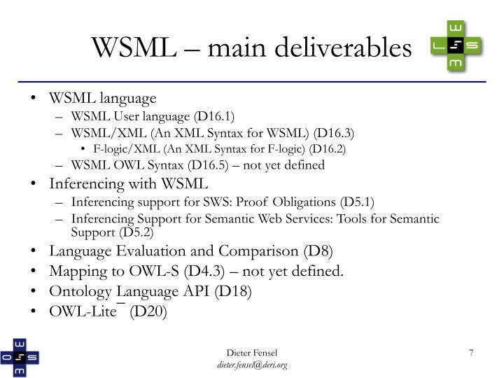WSML – main deliverables