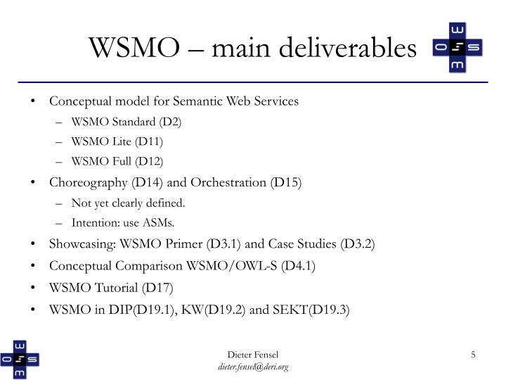 WSMO – main deliverables