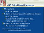jnc 7 goal blood pressures