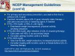 ncep management guidelines cont d