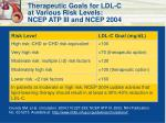 therapeutic goals for ldl c at various risk levels ncep atp iii and ncep 2004