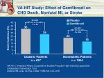 va hit study effect of gemfibrozil on chd death nonfatal mi or stroke