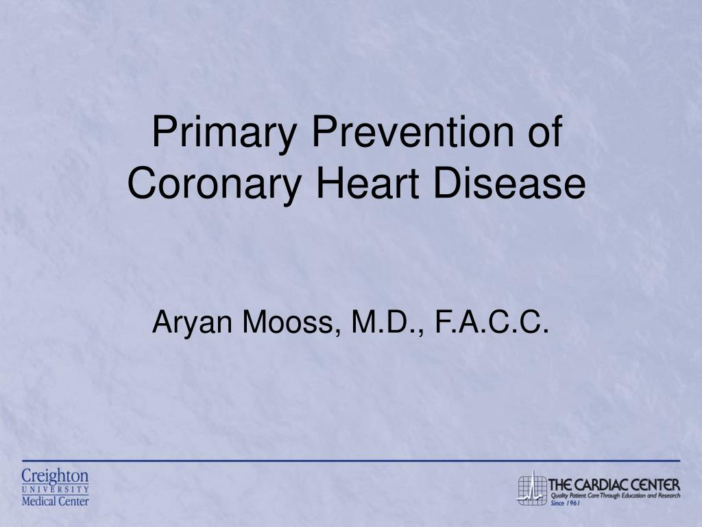 primary prevention of coronary heart disease l.