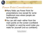 power point considerations