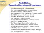 andy rich executive recruitment experience