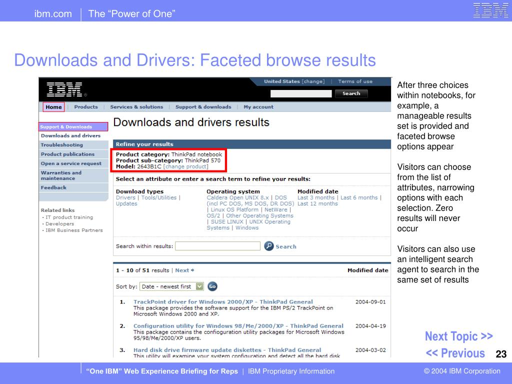 Downloads and Drivers: Faceted browse results