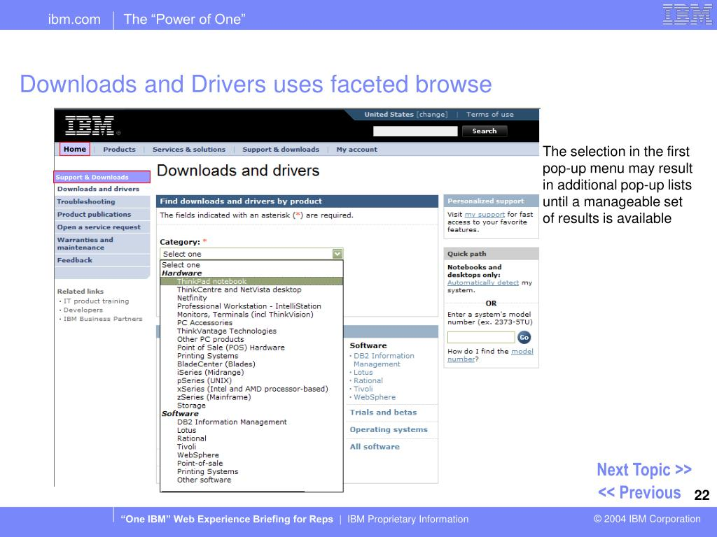 Downloads and Drivers uses faceted browse