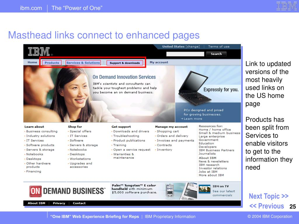 Masthead links connect to enhanced pages